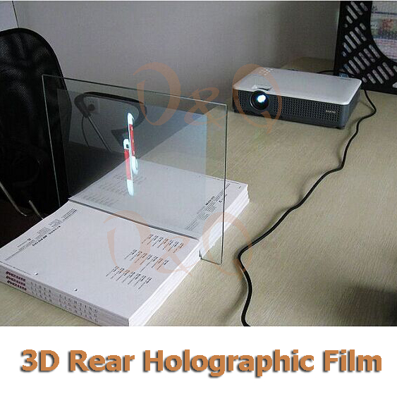 3D Holographic Projection Film Adhesive Rear Projection Screen A4 Size 1Piece 18 5 dark gray and light gray and white and transparent holographic rear projection film