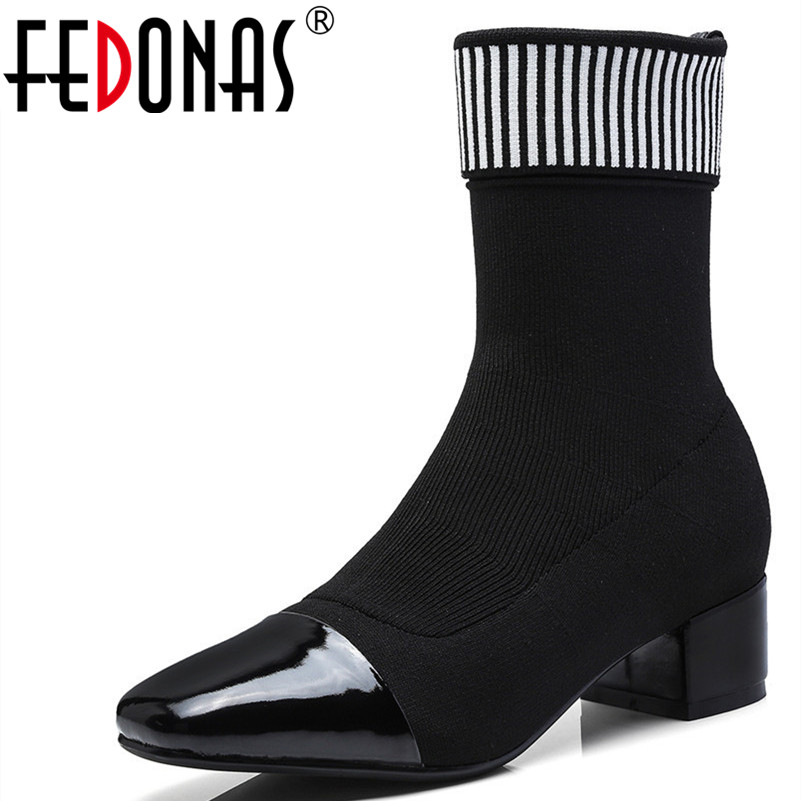 FEDONAS New Women Sock High Boots Pointed Toe Elastic High Boots Slip On High Heel Ankle Boots Women Pumps Stiletto Botas