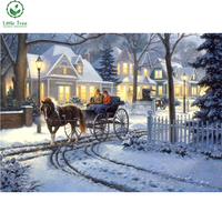 Christmas decoration canvas oil diamond painting full mosaic pasted 5d rhinestone embroidery horse drawn buggy diy cross stitch