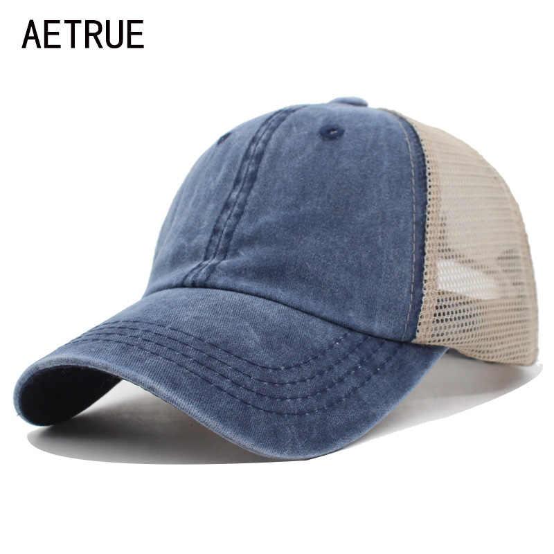 AETRUE الصيف قبعة بيسبول النساء الذكور Gorras Snapback قبعة قبعة الهيب هوب شبكة قابل للتعديل العظام Casquette القبعات للرجال النساء أبي قبعات