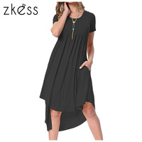 Zkess Women Summer High Low Pleated Dress 2017 New Arrival Solid Color Casual O Neck Short