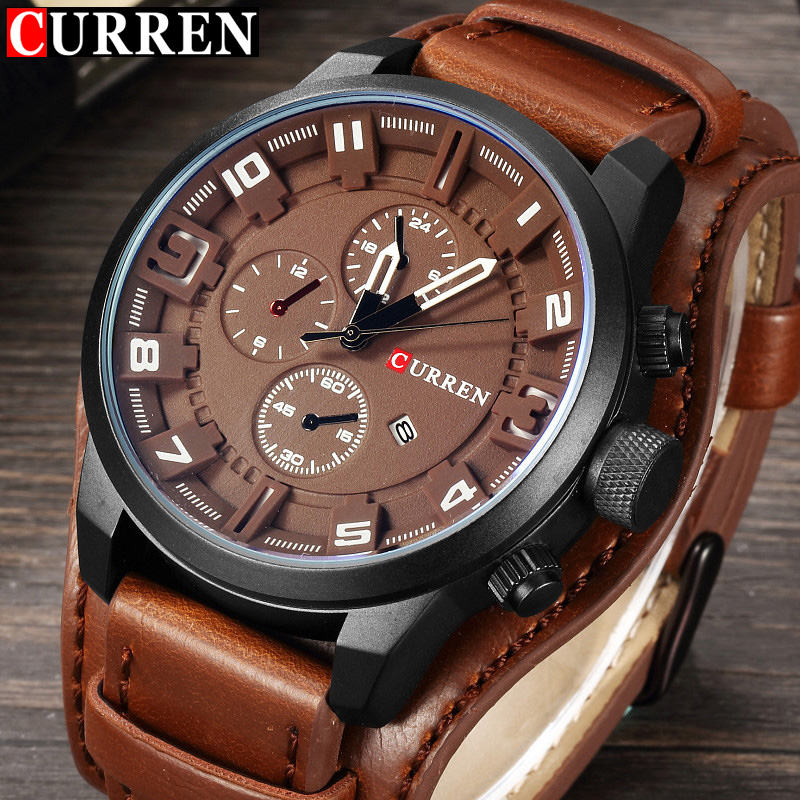 CURREN Top Brand New Mens Fashion Army Military Quartz Mens Watches 3Bar  Luxury Leather Men Watch Casual Sport Male Clock|Quartz Watches|Watches -