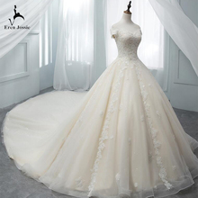 Eren Jossie Customized Royal Train Good Quality Tulle Beaded Appliques Bandage Wedding Dresses 2019 New Made