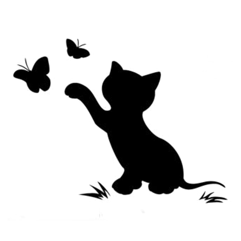 16 8cm 12 9cm Cat Butterfly Fashion Decor Car Sticker Vinyl Decal in Car Stickers from Automobiles Motorcycles