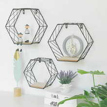 Eisen Hexagonalen Gitter Wand Regal Kombination Hängen Geometrische Figur Dekoration Kann #27