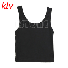 KLV 2017 Sexy Women Summer Slim Render Short Top Sleeveless Scoop Neck Tank Tops Solid Black/White Crop Vest Tube
