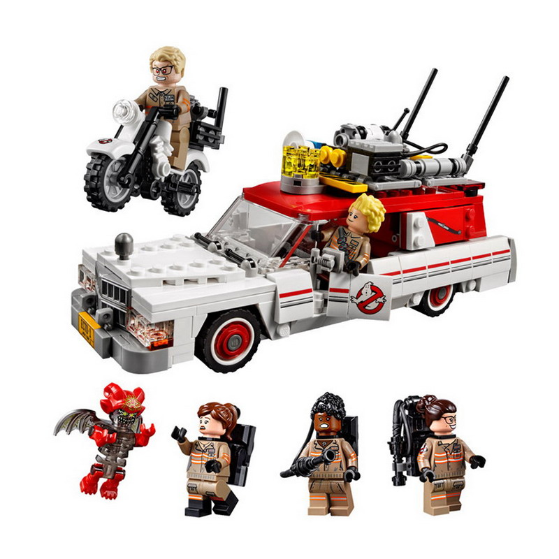 16032 LEPIN Ghostbusters Ecto-1 & 2 Model Building Blocks Classic Enlighten DIY Figure Toys For Children Compatible Legoe 1402 enlighten star wars 8 in 1 aircraft carrier ship tank model building blocks diy figure toys for children compatible legoe