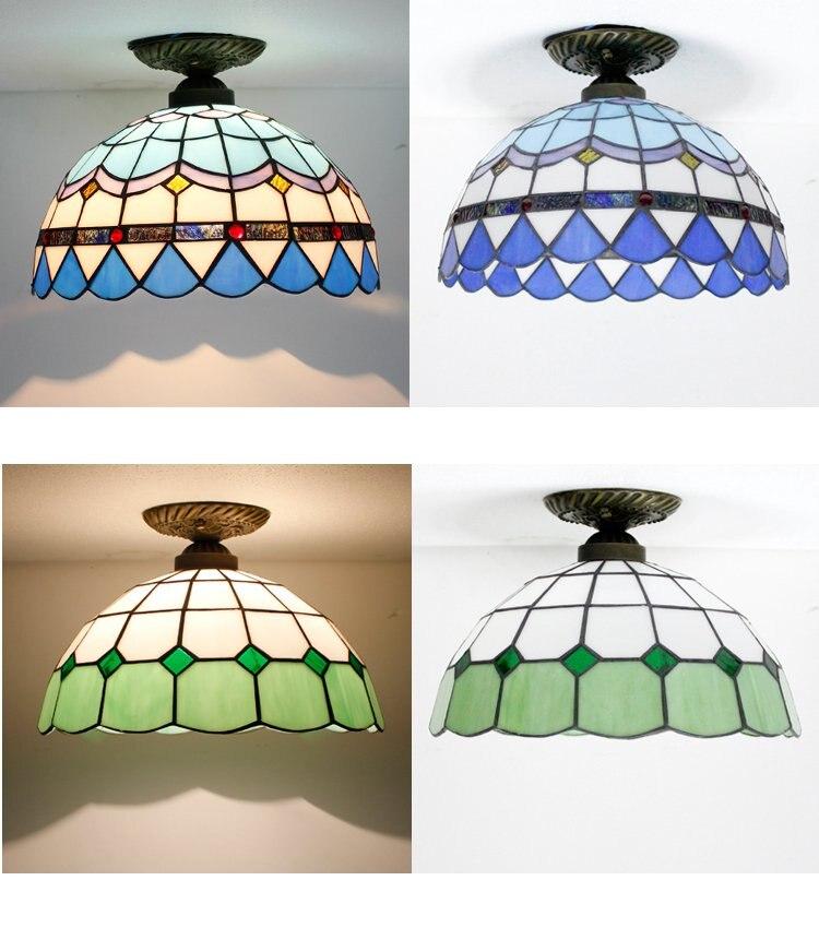 ④Mediterráneo Tiffany luz de techo corredor cristal colorido ático ...