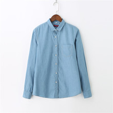 Dioufond Women Cotton Denim Shirt Autumn Long Sleeve Casual Shirts Turn Down Collar Blouse Plus Size Solid Tops Jeans Blouses