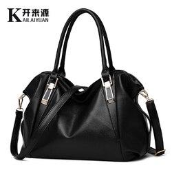KLY 100% cuero genuino bolso de las mujeres 2018 nuevo clásico casual moda femenina Cruz mano del conocimiento de embarque mensajero bolsa