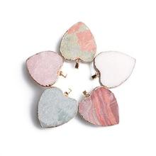 Natural Rough Stone Necklace Pendant 30*35mm Heart Shape Pendant Rose Quartz White Agate Red Jasper Stone Charms Jewelry