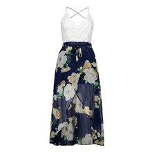 Sunshine Enjoy – Lace stitching print sling V-neck holiday beach long chiffon dress