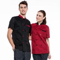 New Summer Short Sleeve Breathable Double Breasted Restaurant Chef Jacket Kitchen Cook Suit Net Back Man