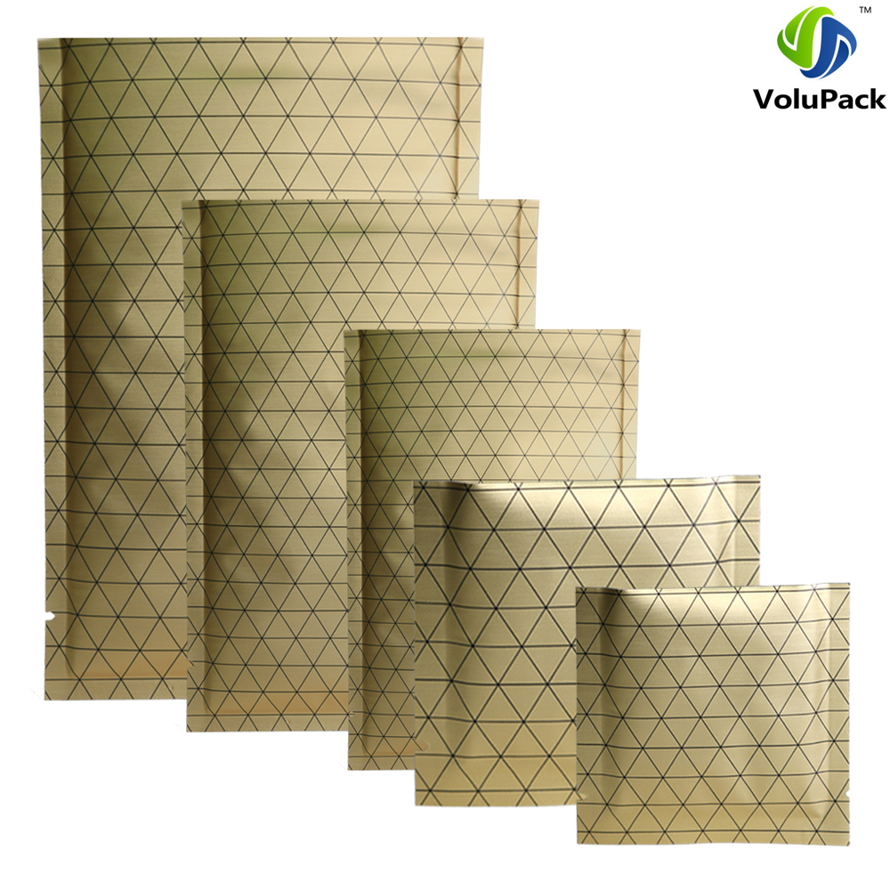 New Design 100pcs Heat Sealable Gold Aluminum Foil Storage Pouches Flat Open Top Bags w/ Black Prism Pattern