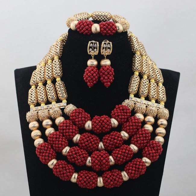 Honorable African Wedding Gold Mix Wine Red/White 4 layers Coral Bead Jewelry Set Necklace African Accessory Free Shipping CJ786