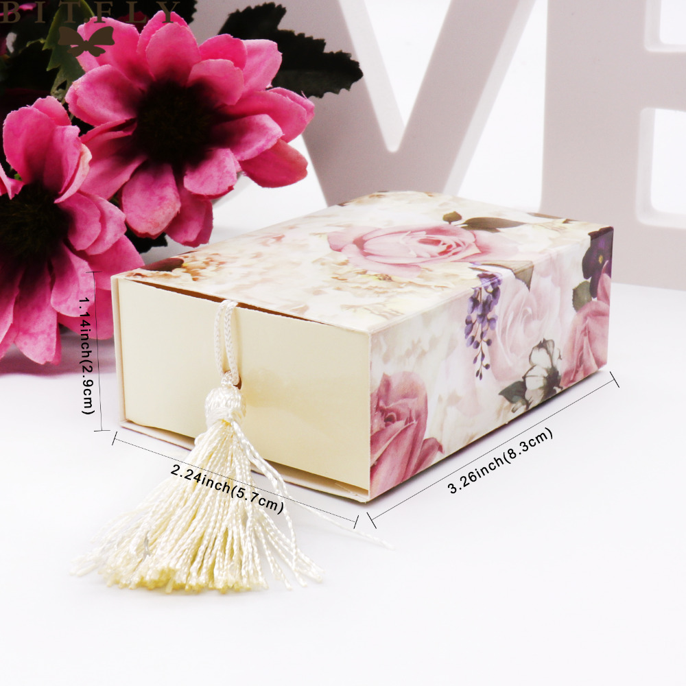 Image 5 - 50 pcs /lot wedding gift package paper  candy box Drawer Shape Favor Box Travel Candy Box Flowers Wedding Favors Gift Box-in Gift Bags & Wrapping Supplies from Home & Garden