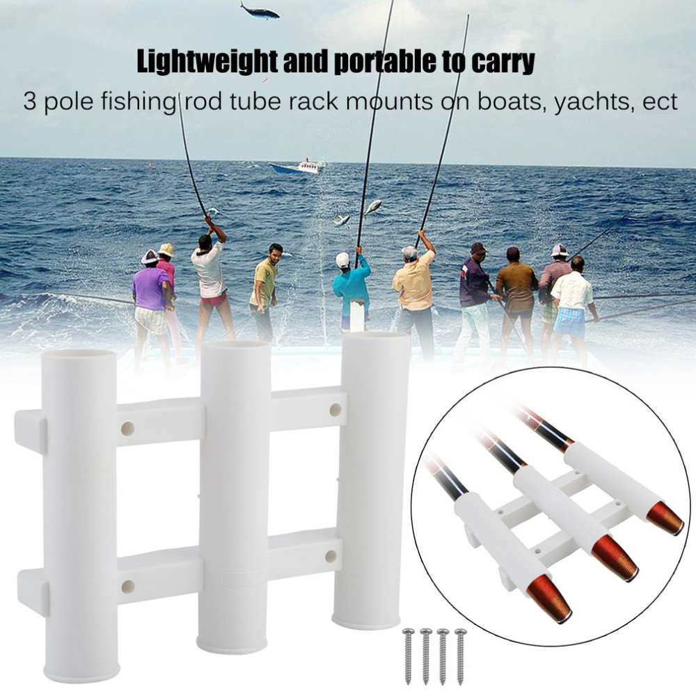 Plastic Fishing Rod Tube Rack 3 Pole Fishing Rod Holder Fishing Mounting Bracket Portable Fishing Accessories