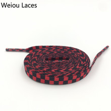 Weiou Flat Black White Red Blue Grid Shoe Lace String Sublimated Printing Polyester Checkered Digital Print Shoelaces Sneakers