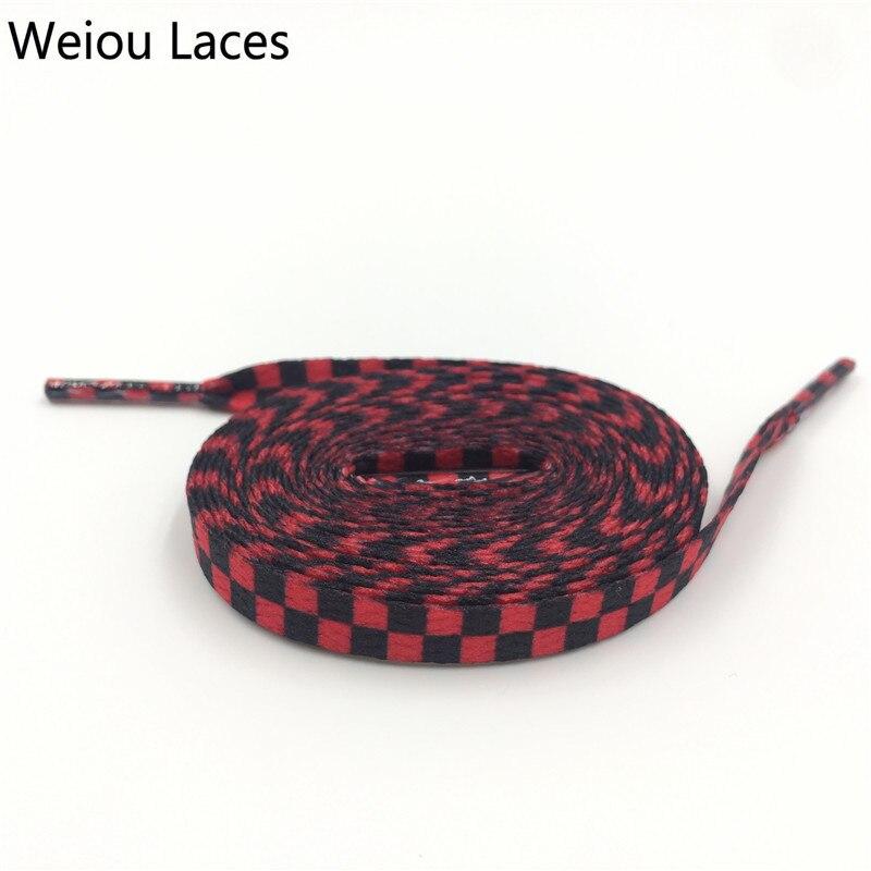 Gutherzig Weiou Flache Schwarz Weiß Rot Blau Grid Schuh Spitze String Sublimiert Druck Polyester Checkered Digitale Druck Schnürsenkel Turnschuhe