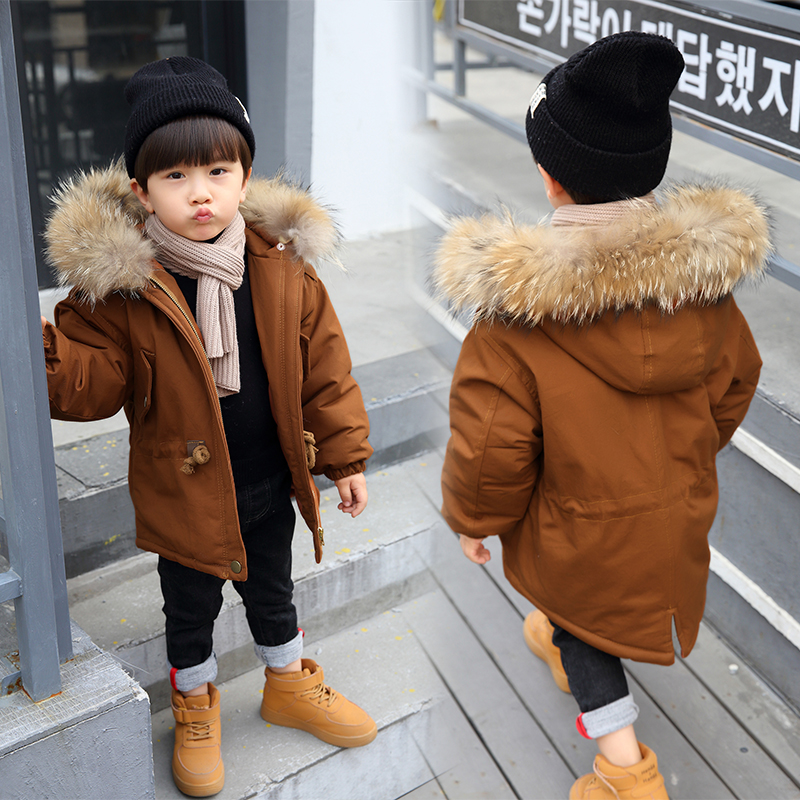 Russia Winter Coats for Kids Boys Outwear Jacket Snow Wear Fur Collar Thick Warm Children Parkas Down Cotton Padded Boy Overcoat