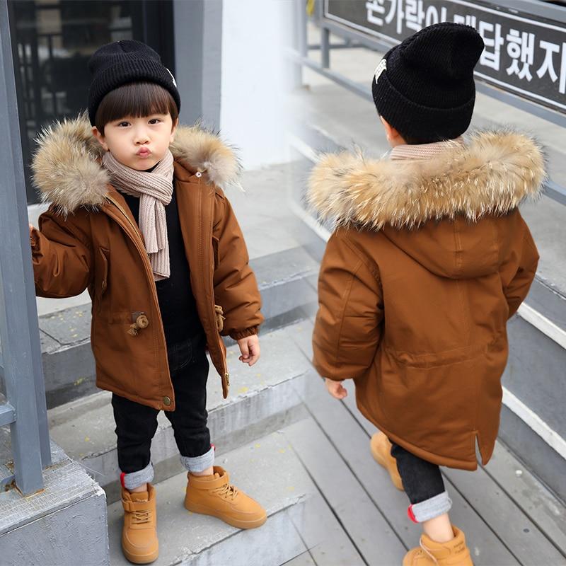 Russia Winter Coats for Kids Boys Outwear Jacket Snow Wear Fur Collar Thick Warm Children Parkas Down Cotton Padded Boy Overcoat