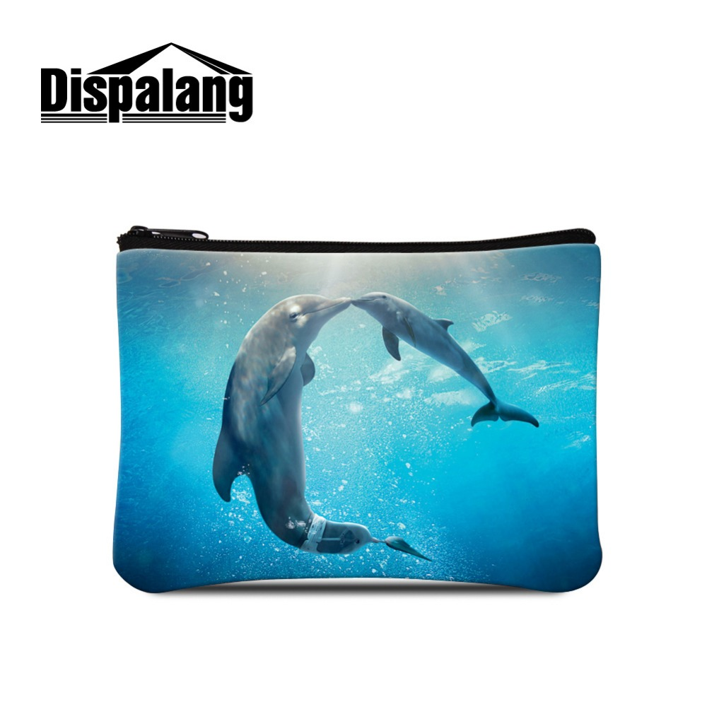 Dispalang Dolphin Printed Coin Bags for Girls Animal Design Small Coin Purse Zippered ladies wallet with change purse Cheap