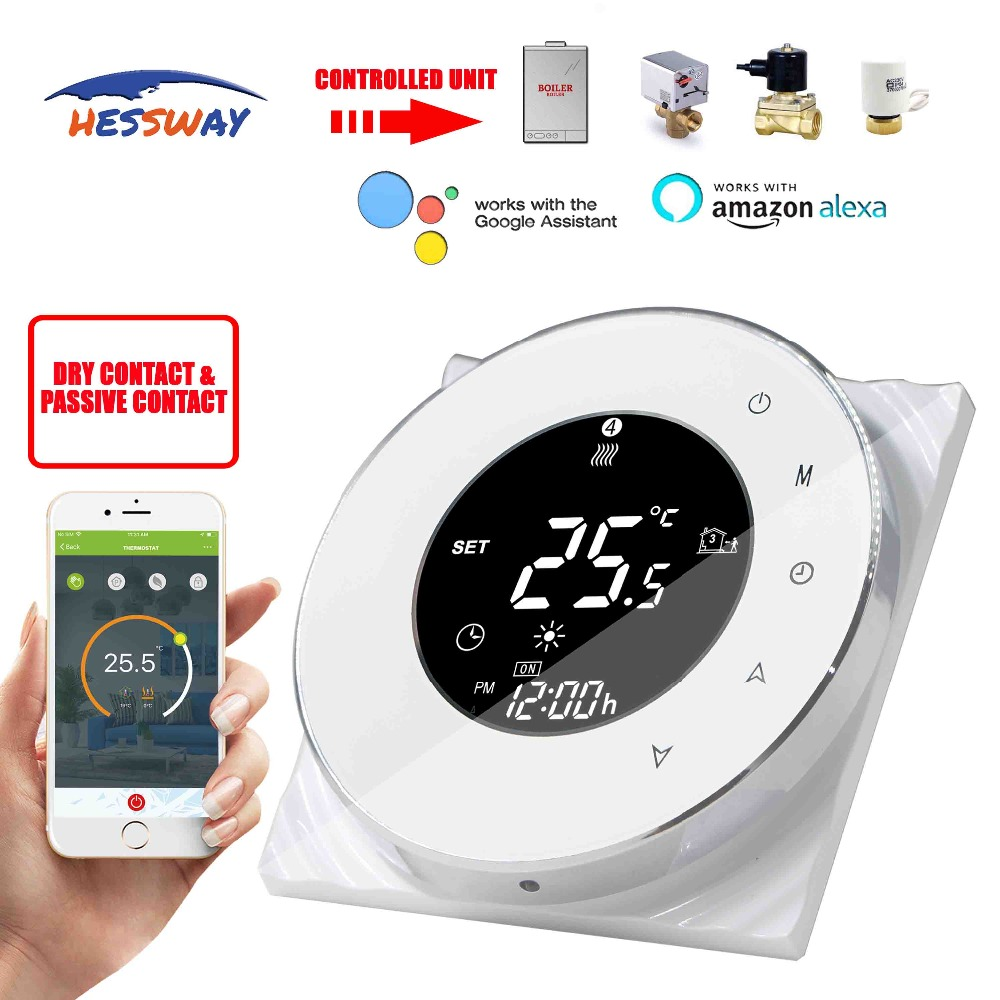 HESSWAY IVR TUYA chip Smart APP WIFI touch screen thermostat for gas boiler Dry contact  Electric ActuatorHESSWAY IVR TUYA chip Smart APP WIFI touch screen thermostat for gas boiler Dry contact  Electric Actuator