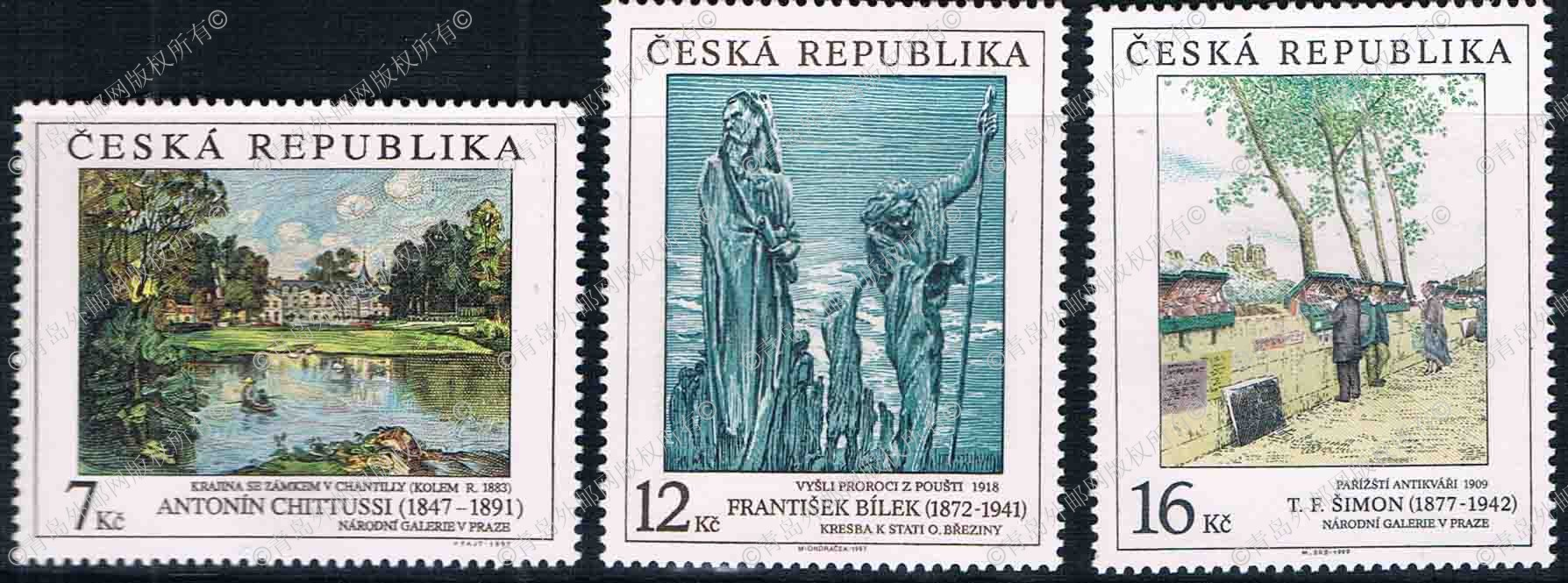 CR0022 Czech 1997 painting series engraving stamp 3 new 0528 Edition cr0017 czech 1996 world heritage roleta and shengnai bohm church 2 new 0528 grams