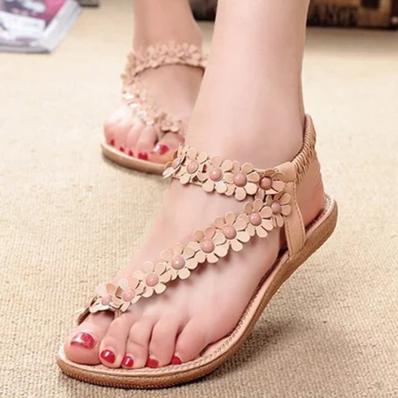 Sandals women flower beading summer flip flops sandals 2018 new arrivals fashion comfort women shoes flat sandals sandals women flower beading summer flip