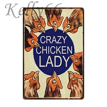 [ Kelly66 ] Crazy Chicken Lady Tin Sign Home Decor Dad Gift Wall Art Painting 20*30 CM Size y-1043