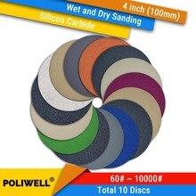 Купить с кэшбэком 10PCS 4 Inch 100mm Silicon Carbide Hook&Loop Waterproof Sanding Discs for Wet/Dry Sanding Round Abrasive Sandpaper