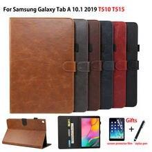Caso de luxo para samsung galaxy tab 10.1 2019 t510 t515 SM T510 capa funda tablet suporte couro do plutônio capa + filme caneta