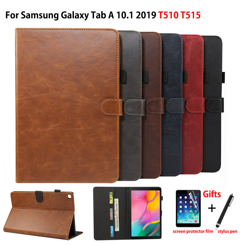 Luxury <font><b>Case</b></font> For <font><b>Samsung</b></font> Galaxy Tab A 10.1 2019 <font><b>T510</b></font> T515 SM-<font><b>T510</b></font> Cover Funda Tablet PU Leather Stand Shell Capa +Film+Pen image