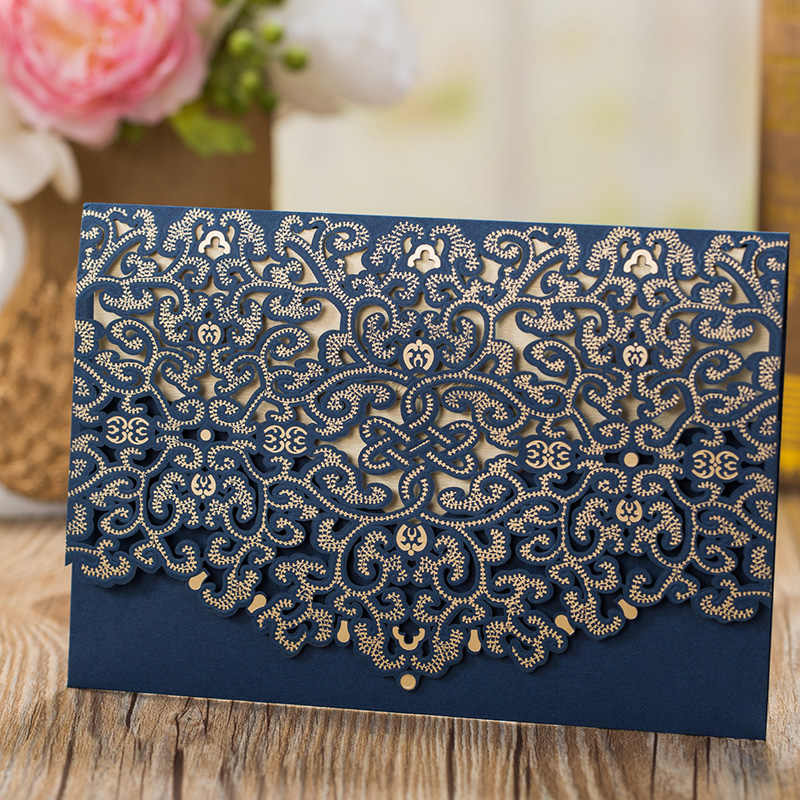 100pcs Blue Laser Cut Wedding Invitation Card Elegant Greeting Card Favor Customize Envelopes Birthday Wedding Party Decoration