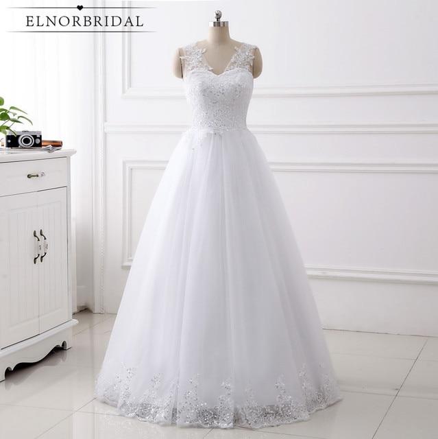 Real Samples Cheap Lace Wedding Dresses 2018 A Line V Neck Handmade ...