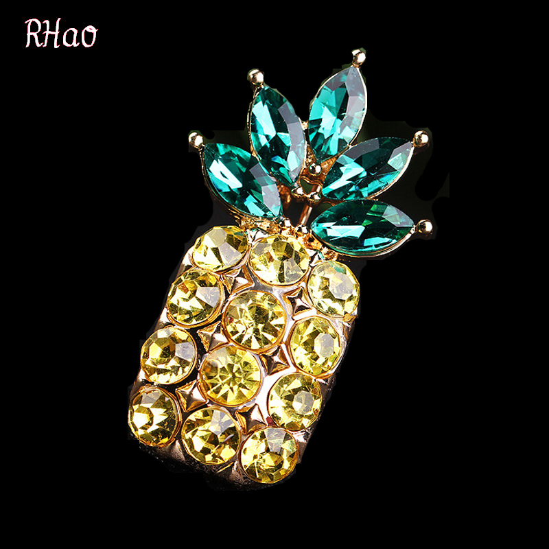 RHao 2017 Hot Sale pineapple Brooches for women men boys girls kids christmas brooch pins bijoux fruit broches for birthday gift