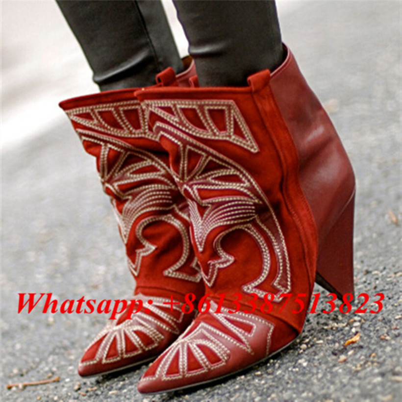 где купить Red Suede Berry Embroidered And Soft Leather Patchwork Women Ankle Boots Pointed Toe Slip-On Spike Heels Boots Women Shoes Woman по лучшей цене