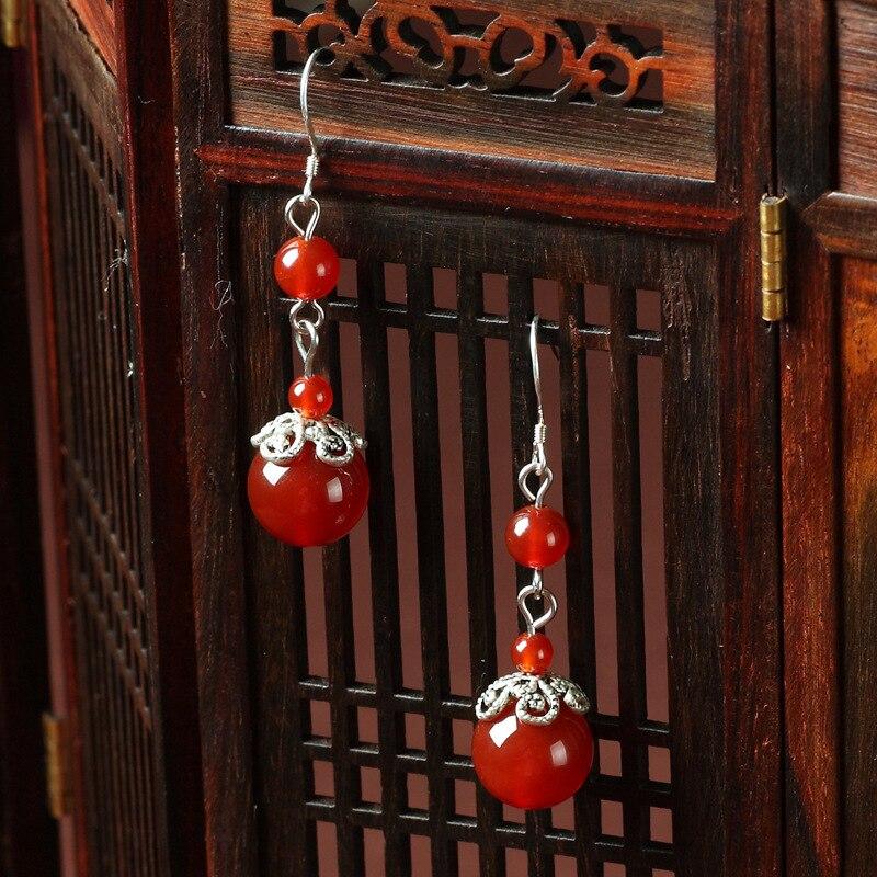 CNANIYA Brand Jewellery Hand made vintage stone Earrings Tebitan Silver Bride Marriage Jewelry/Earing Ethno/Pendientes Largos