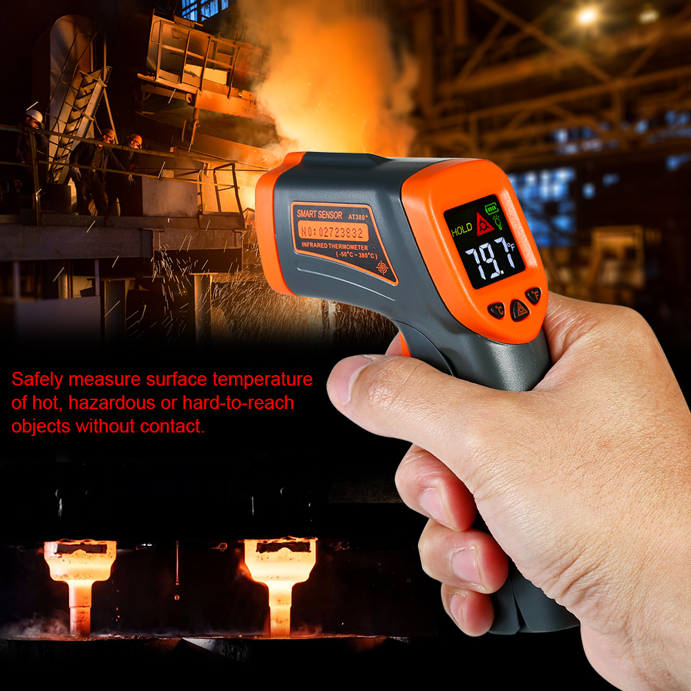 Portatile Digitale Senza contatto Termometro A Infrarossi IR Tester di Temperatura Pirometro LCD con Gradi Centigradi Fahrenheit