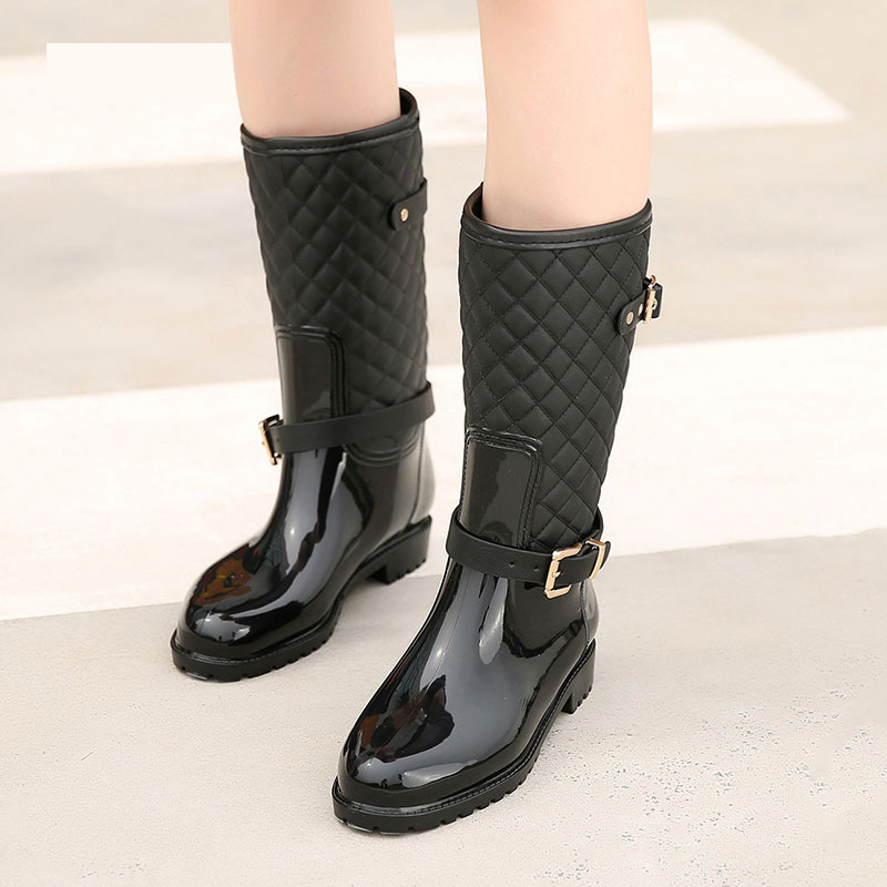 Fashion New Women Mid-Calf Boots Rubber Ankle Strap Women Rain Boots Casual Ladies Flats Boots Shoes with warm socks nuckily men mid calf socks warm cotton made