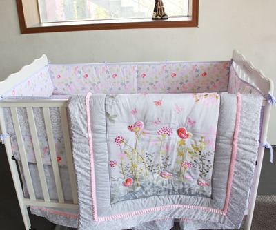 7 pc Crib Infant Room Kids Baby summer Bedroom Set Nursery cotton Bedding Floral bird  pink cot bedding for newborn baby girls
