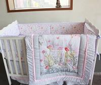 7 pc Crib Infant Room Kids Baby summer Bedroom Set Nursery cotton Bedding Floral bird pink cot bedding for newborn baby girls