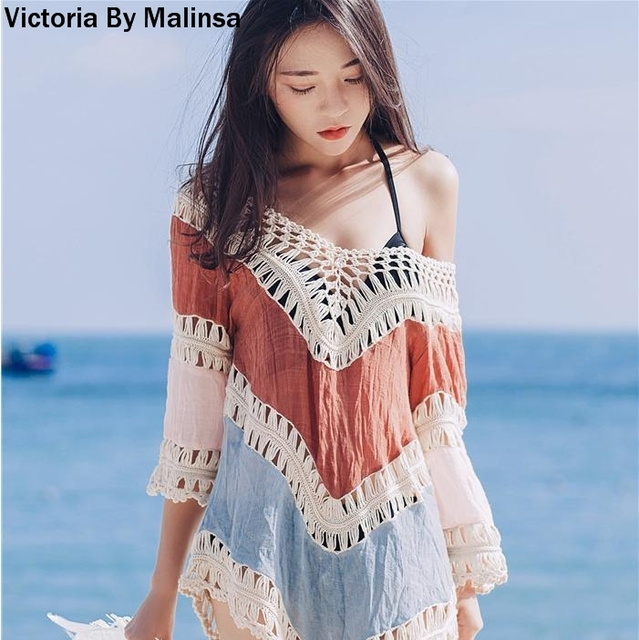 148ff3dc8dfc4 Womens Beach Cover Up 2018 Summer Dress Crochet Bikini Long Sleeve Swimwear  Bathing Suit Cover Ups Beach Tunic Top