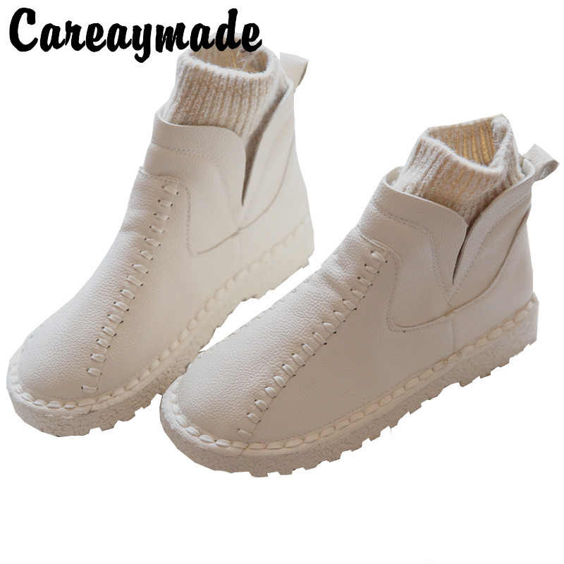 Careaymade series Sen female literary wool mouth short winter boots and handmade wool round thick soled