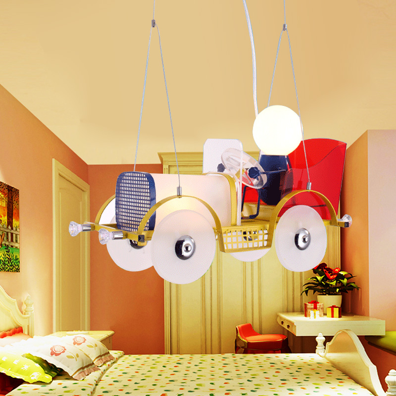Children 's toy car chandelier glass lamp bedroom learning modern creative villain cartoon lights led high - quality metal infant shining swing car mute flash belting leather music environmental quality children s toy car