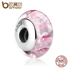 925 Sterling Silver Lovely Pink Flower Pattern Charm