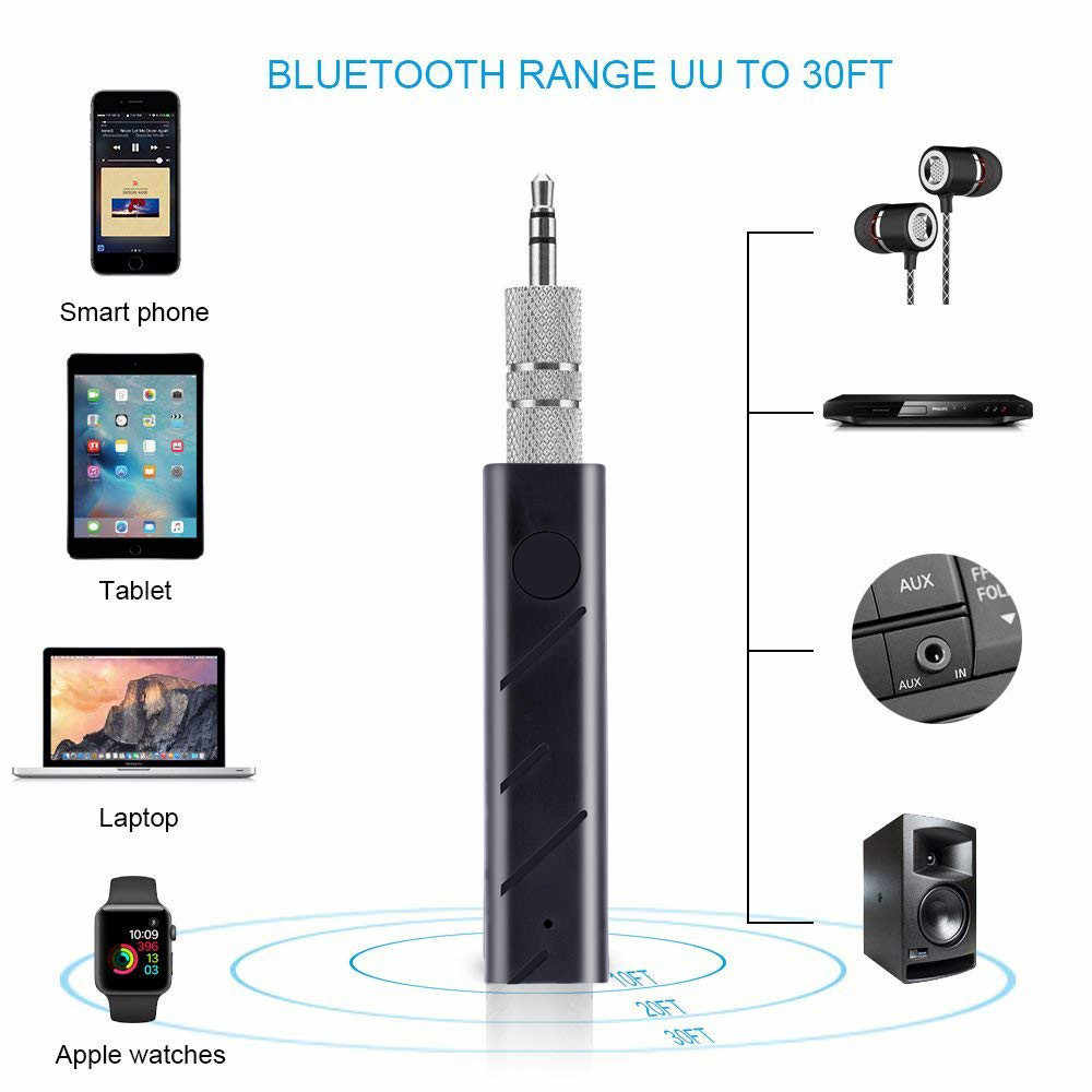 Mini Kit Bluetooth inalámbrico para coche manos libres 3,5mm Jack AUX Audio receptor adaptador Jack receptor adaptador Bluetooth AUX para altavoz