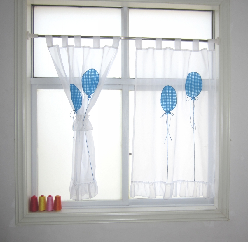 US $11.96 5% OFF|Balloon Style Tab Top Flouncing Bottom Good Quality Sheer  Voile Simple Short Kitchen Curtains 2PCS-in Curtains from Home & Garden on  ...