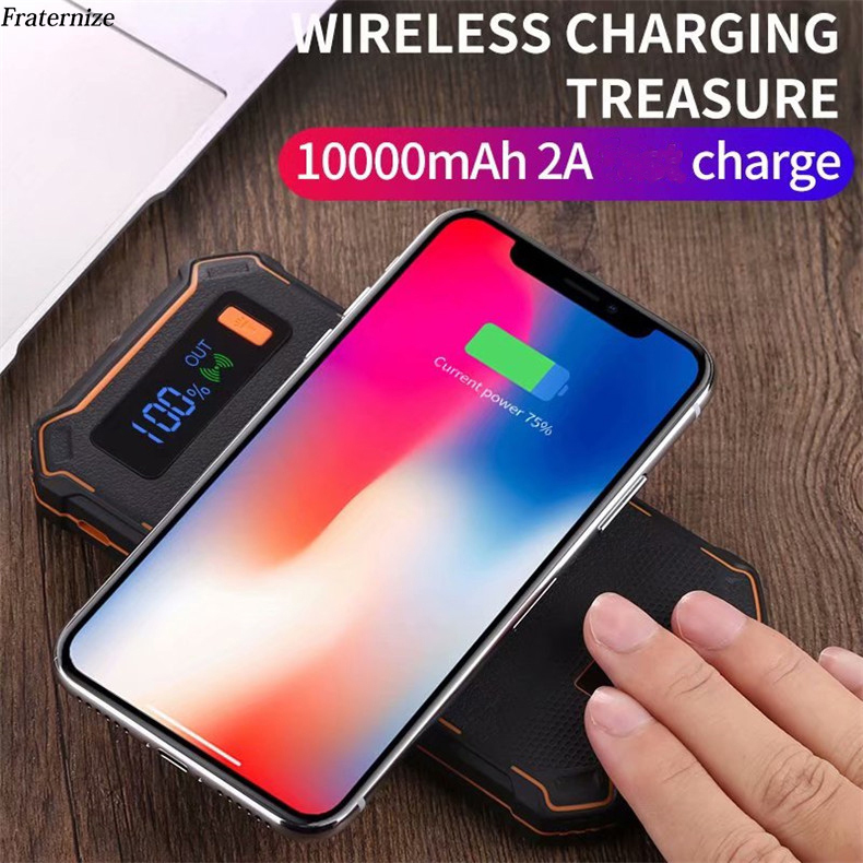 10000mAh Power Bank QI Wireless Charger For iPhone X 8 LCD Dual USB Battery Charger Wireless Powerbank For Samsung S9 S8 Note 8