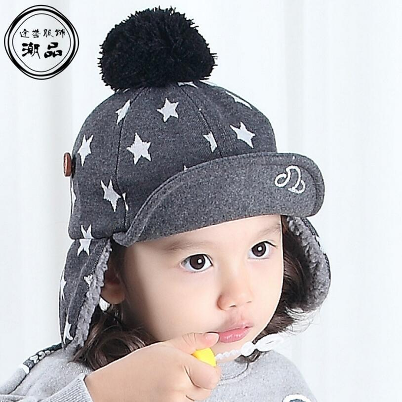 stars warm font winter baseball cap womens with ear flaps mens hat leather